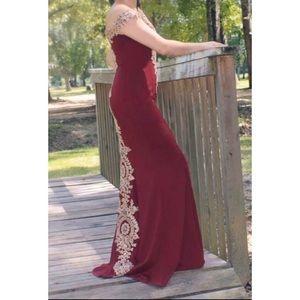 Burgandy Prom Dress Off Shoulder